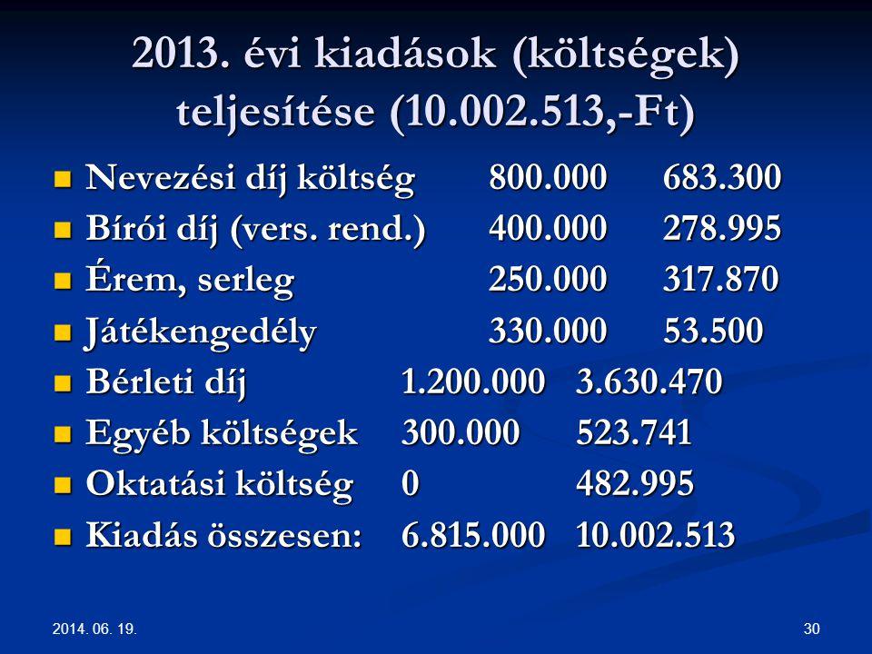 2014. 06. 19. 30 2013. évi kiadások (költségek) teljesítése (10.002.513,-Ft)  Nevezési díj költség800.000683.300  Bírói díj (vers. rend.) 400.000278
