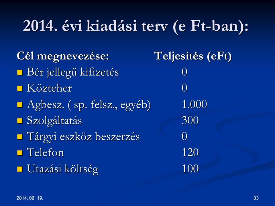 2014. 06. 19. 33 2014. évi kiadási terv (e Ft-ban): 2014. évi kiadási terv (e Ft-ban): Cél megnevezése:Teljesítés (eFt)  Bér jellegű kifizetés0  Köz