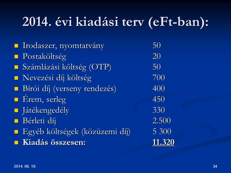 2014. 06. 19. 34 2014. évi kiadási terv (eFt-ban):  Irodaszer, nyomtatvány 50  Postaköltség 20  Számlázási költség (OTP) 50  Nevezési díj költség