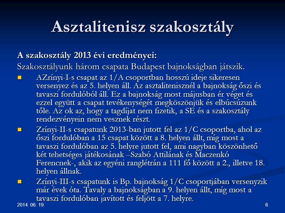 2014. 06. 19. 6 Asztalitenisz szakosztály A szakosztály 2013 évi eredményei: Szakosztályunk három csapata Budapest bajnokságban játszik.  AZrínyi-I-s