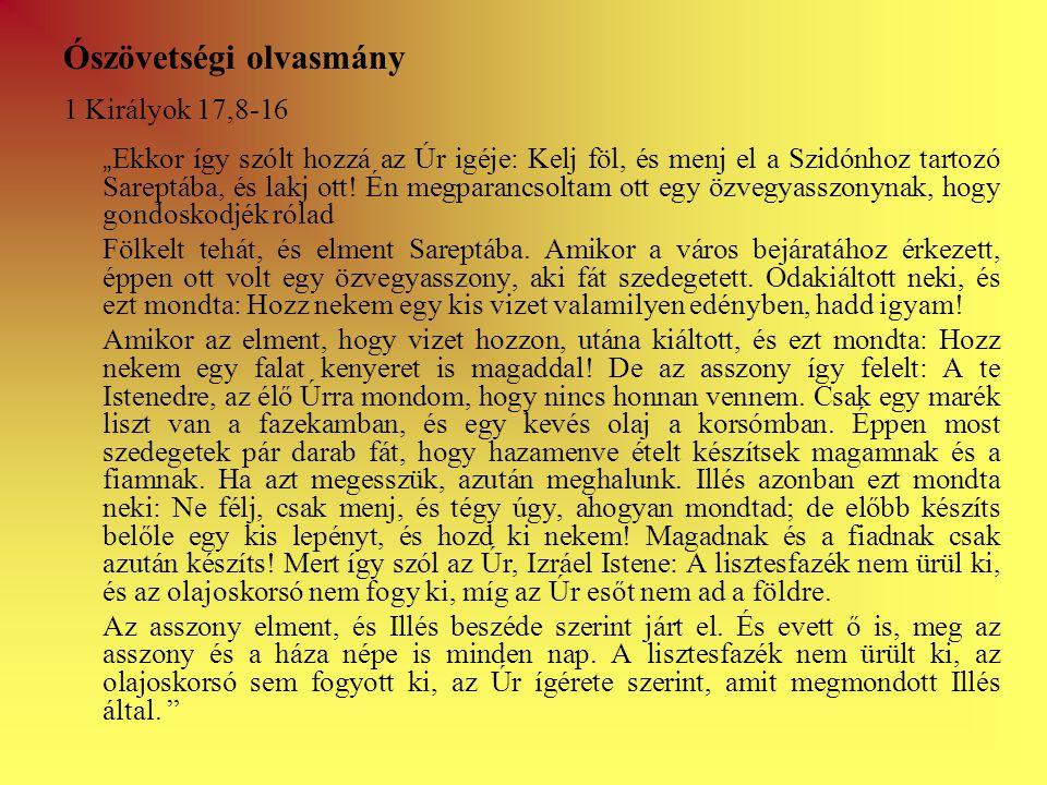 """Ószövetségi olvasmány 1 Királyok 17,8-16 """" Ekkor így szólt hozzá az Úr igéje: Kelj föl, és menj el a Szidónhoz tartozó Sareptába, és lakj ott."""