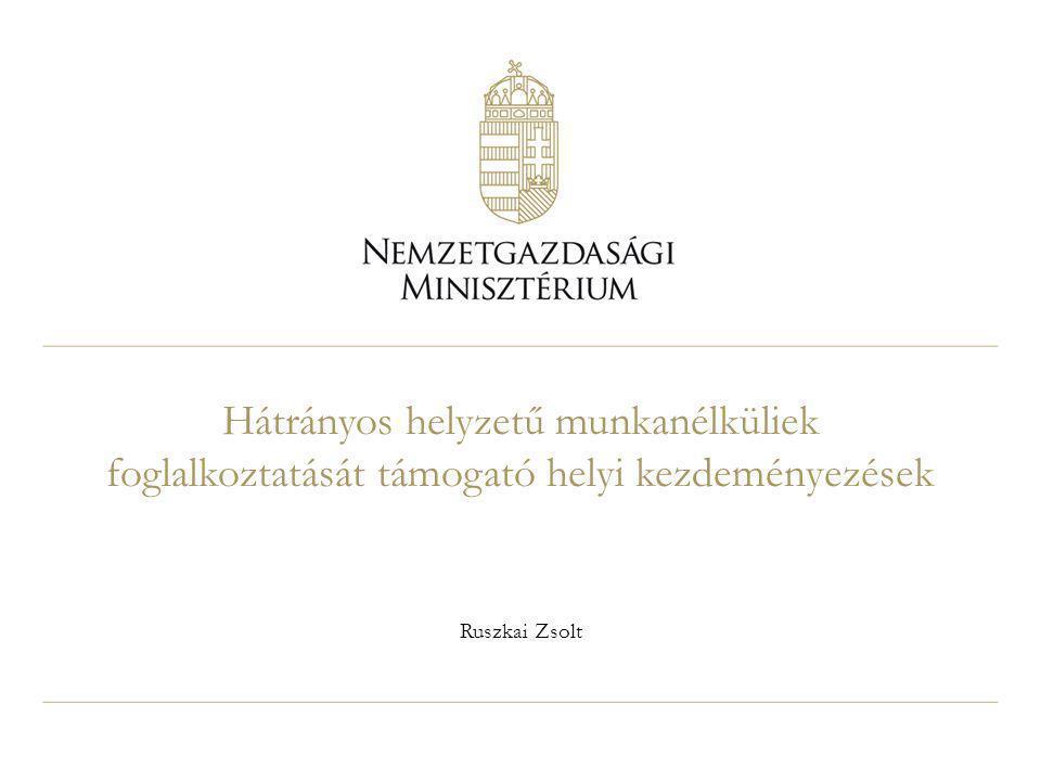 Hátrányos helyzetű munkanélküliek foglalkoztatását támogató helyi kezdeményezések Ruszkai Zsolt