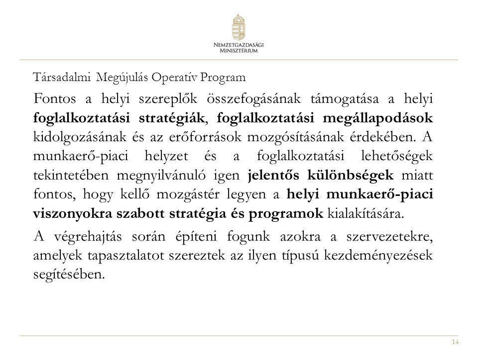 14 Társadalmi Megújulás Operatív Program Fontos a helyi szereplők összefogásának támogatása a helyi foglalkoztatási stratégiák, foglalkoztatási megáll