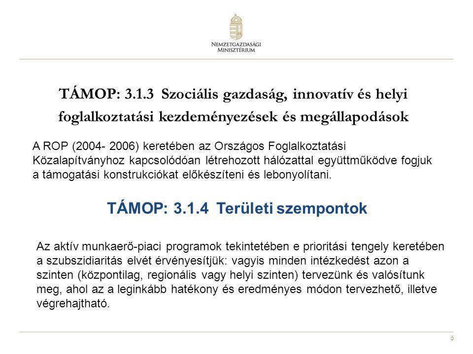 6 TÁMOP: 3.1.3 Szociális gazdaság, innovatív és helyi foglalkoztatási kezdeményezések és megállapodások A ROP (2004- 2006) keretében az Országos Fogla