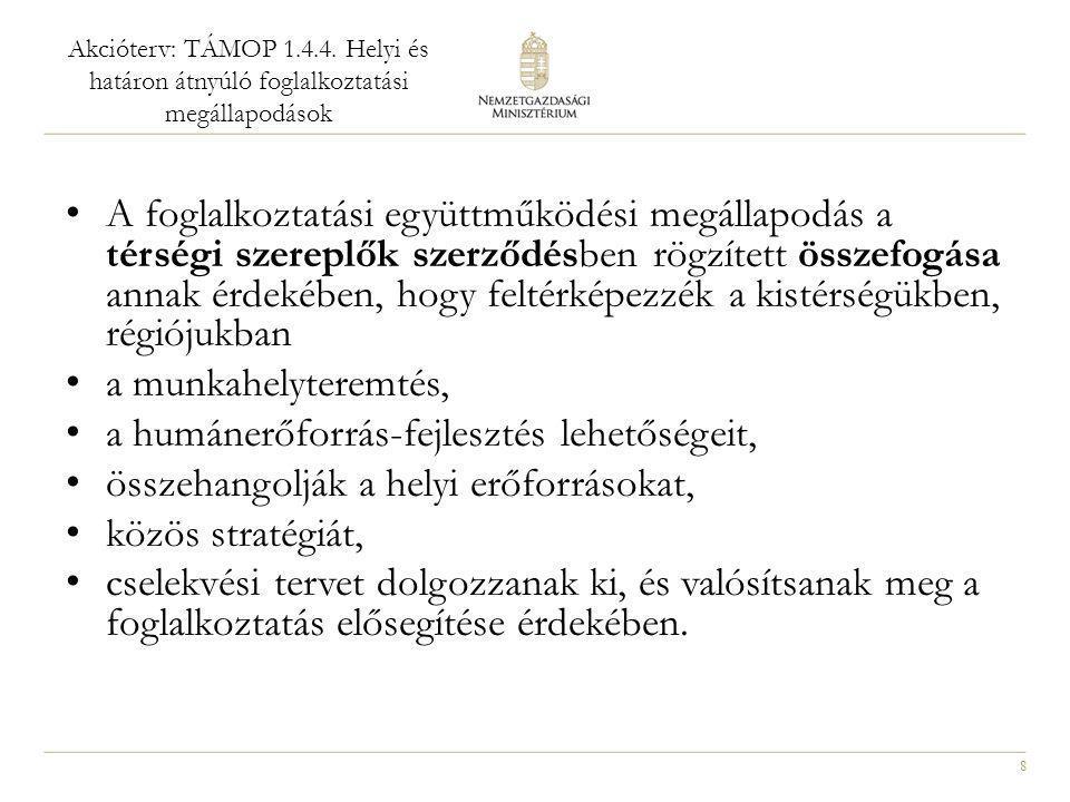 8 Akcióterv: TÁMOP 1.4.4. Helyi és határon átnyúló foglalkoztatási megállapodások • A foglalkoztatási együttműködési megállapodás a térségi szereplők