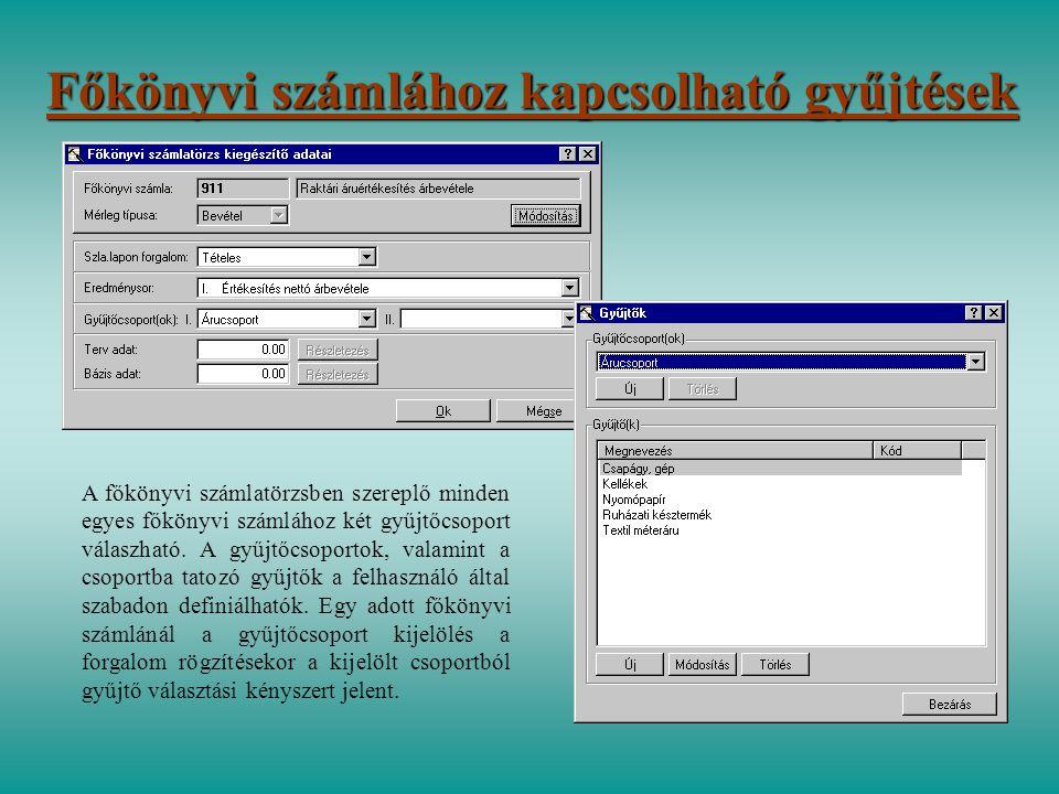 Főkönyvi számlához kapcsolható gyűjtések A főkönyvi számlatörzsben szereplő minden egyes főkönyvi számlához két gyűjtőcsoport válaszható. A gyűjtőcsop