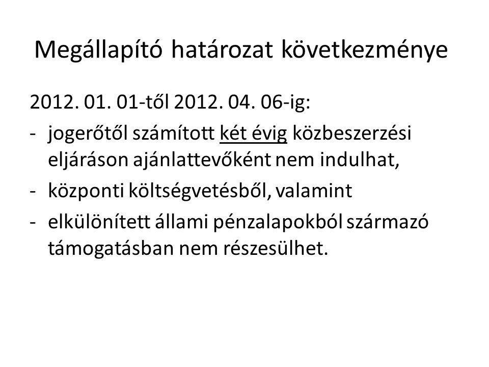 Megállapító határozat következménye 2012. 01. 01-től 2012. 04. 06-ig: -jogerőtől számított két évig közbeszerzési eljáráson ajánlattevőként nem indulh