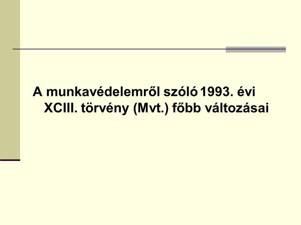 A munkavédelemről szóló 1993. évi XCIII. törvény (Mvt.) főbb változásai