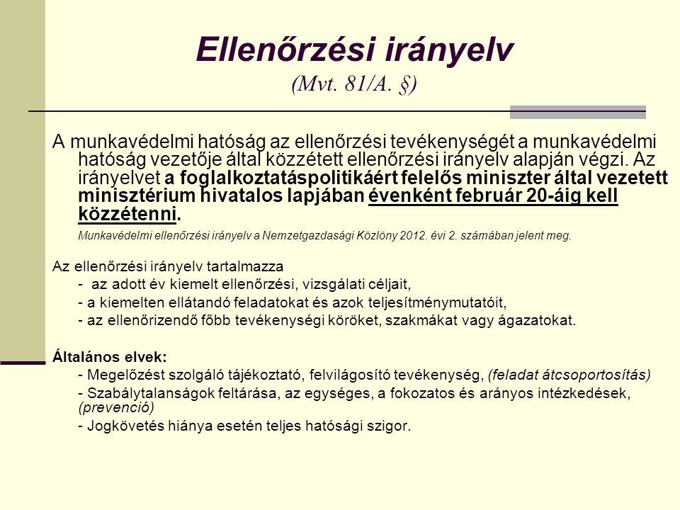 Ellenőrzési irányelv (Mvt.81/A.
