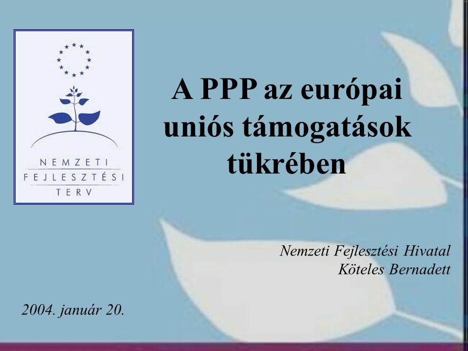 A PPP az európai uniós támogatások tükrében 2004. január 20. Nemzeti Fejlesztési Hivatal Köteles Bernadett