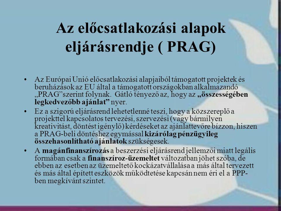 Az előcsatlakozási alapok eljárásrendje ( PRAG) •Az Európai Unió előcsatlakozási alapjaiból támogatott projektek és beruházások az EU által a támogato