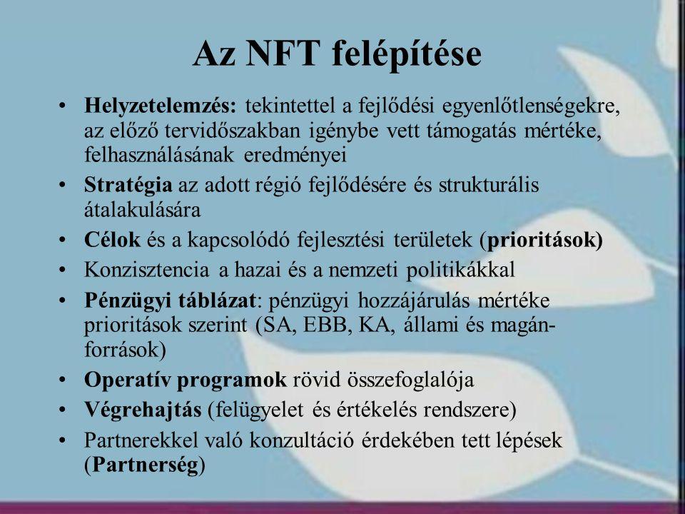 Az NFT felépítése •Helyzetelemzés: tekintettel a fejlődési egyenlőtlenségekre, az előző tervidőszakban igénybe vett támogatás mértéke, felhasználásána