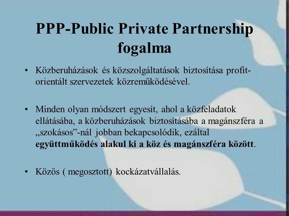 Hazai pályázati eljárásrendek (2) •Nehezíti a PPP alkalmazását, hogy a közszereplő a pályázat megnyeréséhez köti a beruházásról szóló döntését, így a bizonytalan helyzetben a komoly költségekkel és szakmai ráfordításokkal járó PPP előkészítést a közszereplő és a magánszereplő is túl kockázatosnak tartja •a kiírónak formálisan rendelkeznie kell a beruházáshoz szükséges forrásokkal.