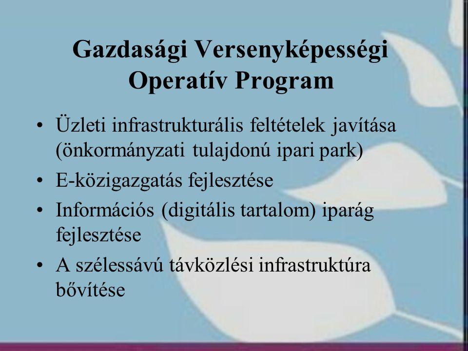 Gazdasági Versenyképességi Operatív Program •Üzleti infrastrukturális feltételek javítása (önkormányzati tulajdonú ipari park) •E-közigazgatás fejlesz