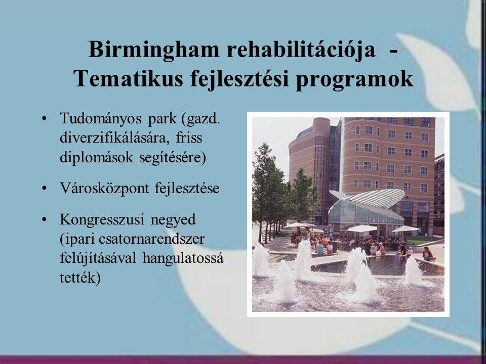 Birmingham rehabilitációja - Tematikus fejlesztési programok •Tudományos park (gazd. diverzifikálására, friss diplomások segítésére) •Városközpont fej