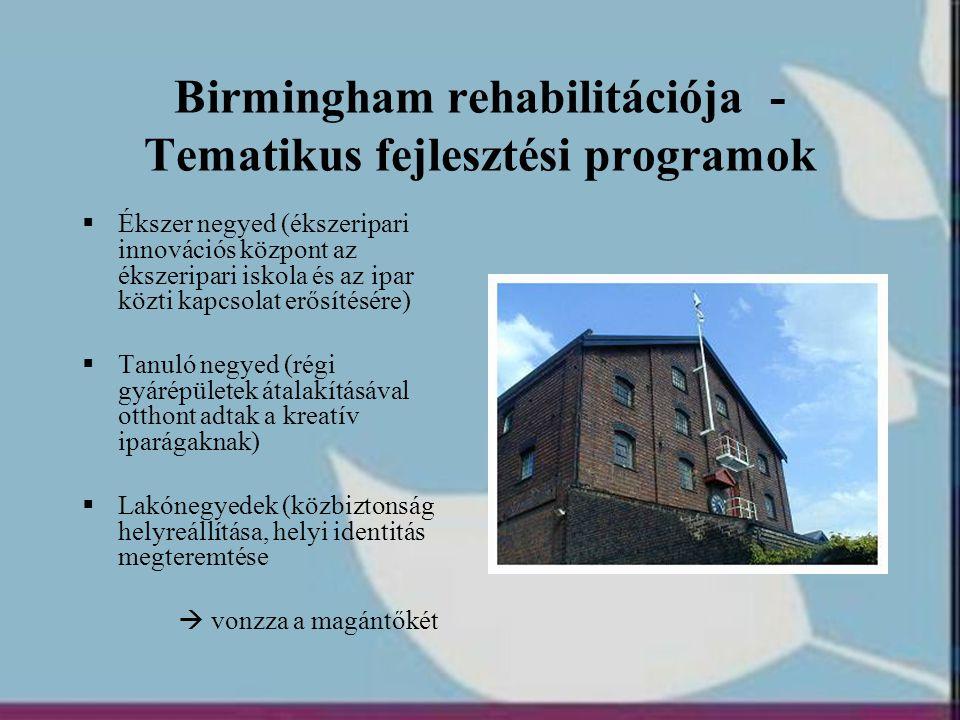 Birmingham rehabilitációja - Tematikus fejlesztési programok  Ékszer negyed (ékszeripari innovációs központ az ékszeripari iskola és az ipar közti ka