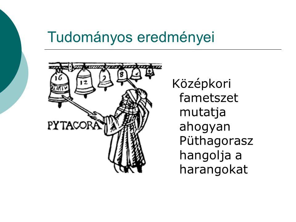 Tudományos eredményei Középkori fametszet mutatja ahogyan Püthagorasz hangolja a harangokat