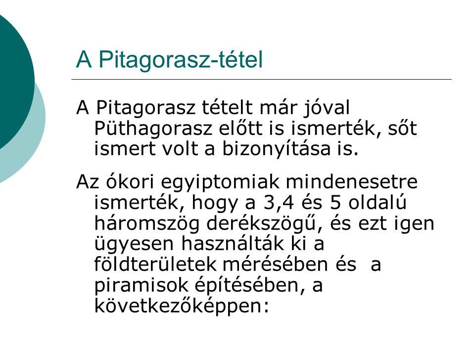 A Pitagorasz-tétel A Pitagorasz tételt már jóval Püthagorasz előtt is ismerték, sőt ismert volt a bizonyítása is.