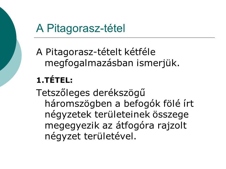 A Pitagorasz-tételt kétféle megfogalmazásban ismerjük.