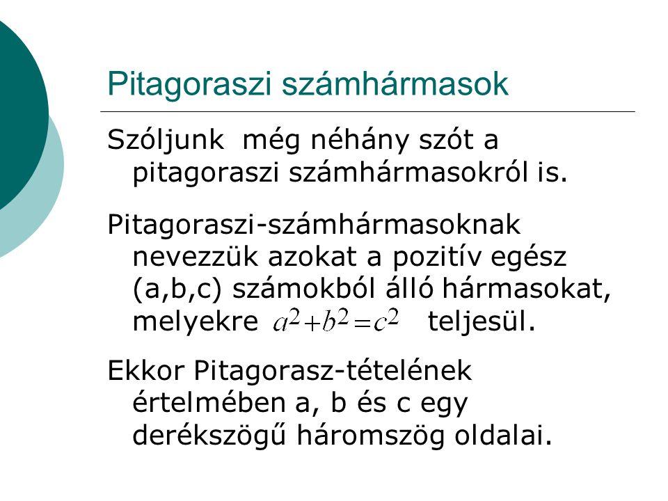 Pitagoraszi számhármasok Szóljunk még néhány szót a pitagoraszi számhármasokról is.