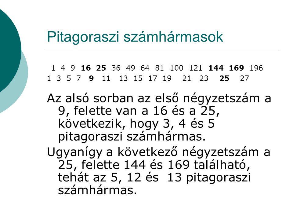 Pitagoraszi számhármasok 1 4 9 16 25 36 49 64 81 100 121 144 169 196 1 3 5 7 9 11 13 15 17 19 21 23 25 27 Az alsó sorban az első négyzetszám a 9, felette van a 16 és a 25, következik, hogy 3, 4 és 5 pitagoraszi számhármas.
