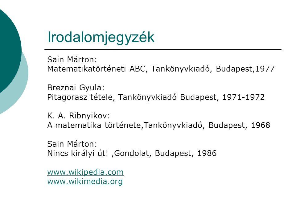 Irodalomjegyzék Sain Márton: Matematikatörténeti ABC, Tankönyvkiadó, Budapest,1977 Breznai Gyula: Pitagorasz tétele, Tankönyvkiadó Budapest, 1971-1972 K.
