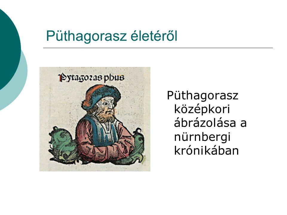 Püthagorasz életéről Püthagorasz középkori ábrázolása a nürnbergi krónikában