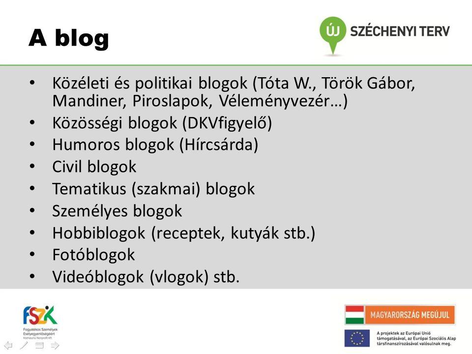 • Közéleti és politikai blogok (Tóta W., Török Gábor, Mandiner, Piroslapok, Véleményvezér…) • Közösségi blogok (DKVfigyelő) • Humoros blogok (Hírcsárd