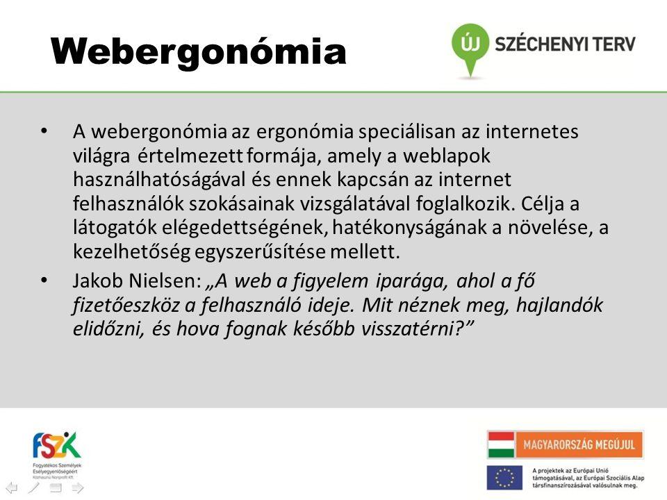 Webergonómia • A webergonómia az ergonómia speciálisan az internetes világra értelmezett formája, amely a weblapok használhatóságával és ennek kapcsán