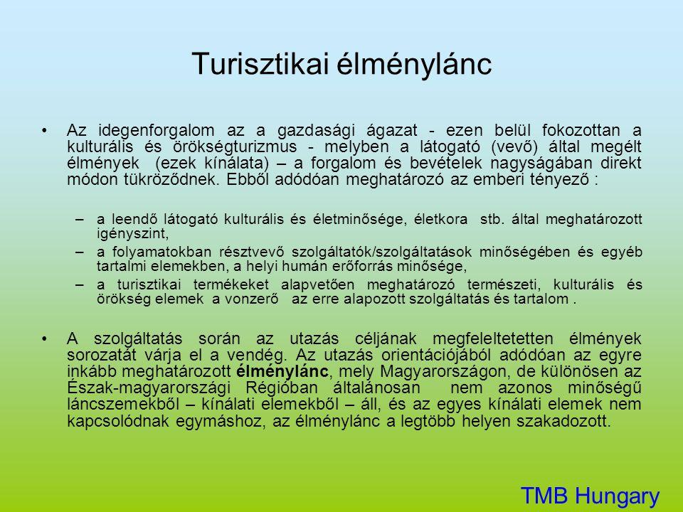 Turisztikai élménylánc TMB Hungary Kft. •Az idegenforgalom az a gazdasági ágazat - ezen belül fokozottan a kulturális és örökségturizmus - melyben a l
