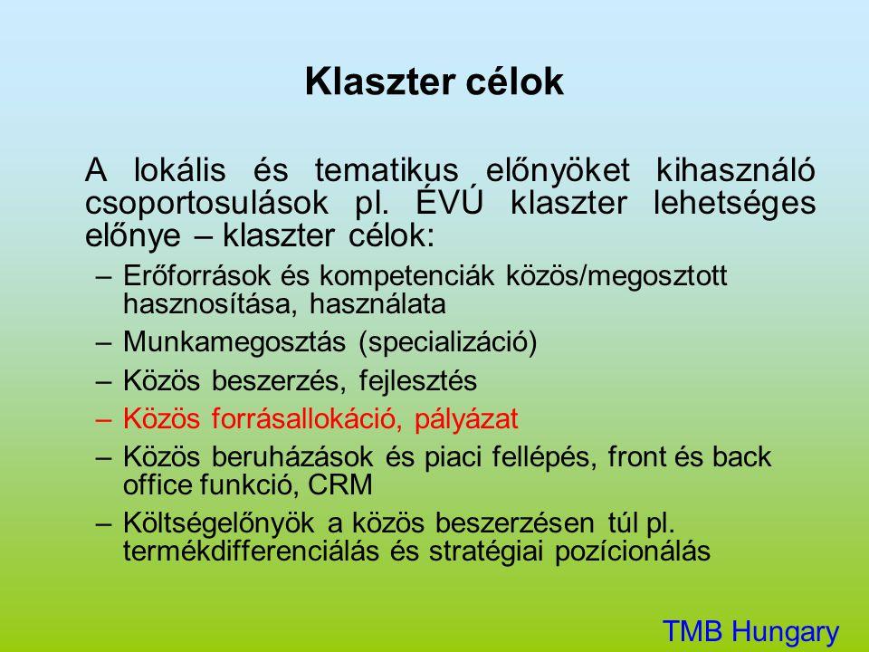 Klaszter célok A lokális és tematikus előnyöket kihasználó csoportosulások pl. ÉVÚ klaszter lehetséges előnye – klaszter célok: –Erőforrások és kompet