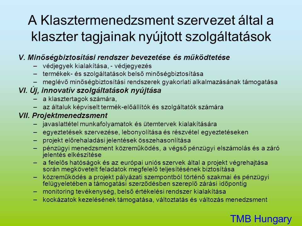 A Klasztermenedzsment szervezet által a klaszter tagjainak nyújtott szolgáltatások V. Minőségbiztosítási rendszer bevezetése és működtetése –védjegyek