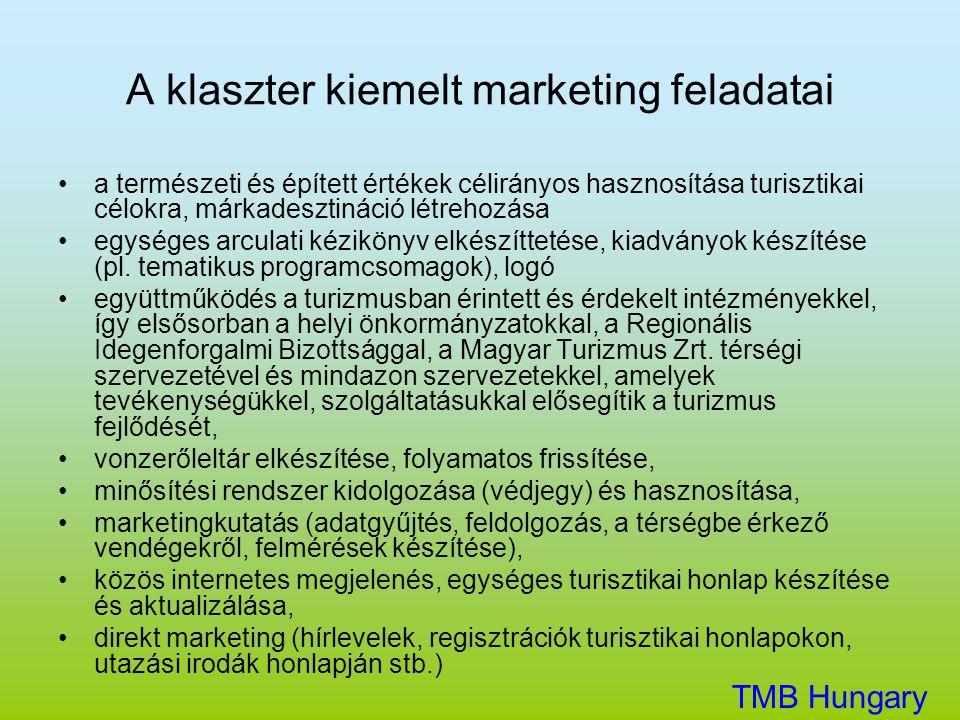 A klaszter kiemelt marketing feladatai •a természeti és épített értékek célirányos hasznosítása turisztikai célokra, márkadesztináció létrehozása •egy