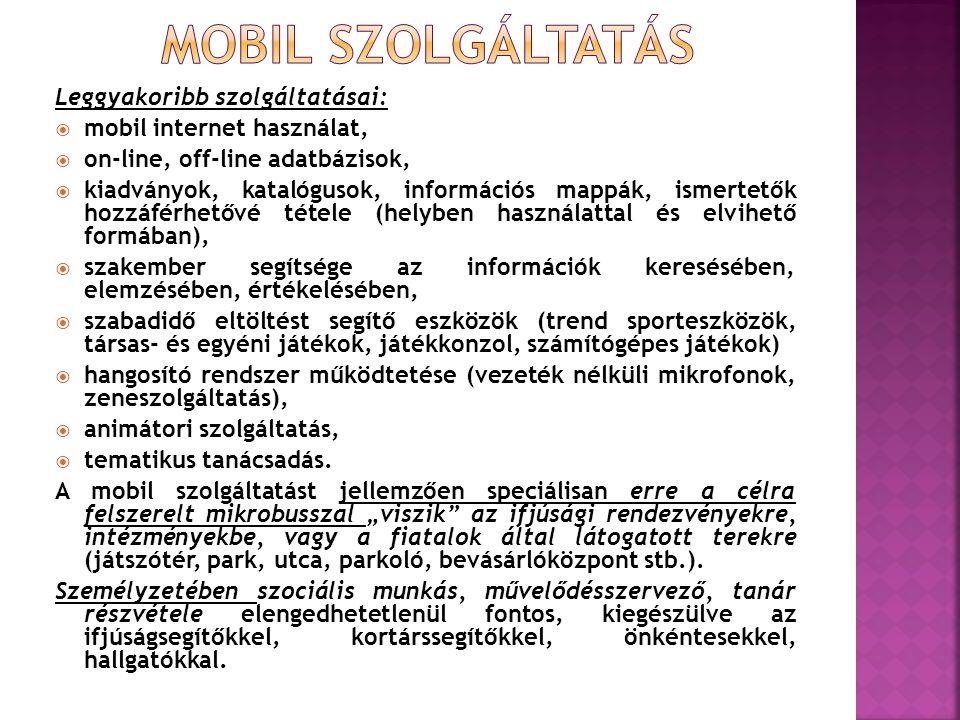 Leggyakoribb szolgáltatásai:  mobil internet használat,  on-line, off-line adatbázisok,  kiadványok, katalógusok, információs mappák, ismertetők hozzáférhetővé tétele (helyben használattal és elvihető formában),  szakember segítsége az információk keresésében, elemzésében, értékelésében,  szabadidő eltöltést segítő eszközök (trend sporteszközök, társas- és egyéni játékok, játékkonzol, számítógépes játékok)  hangosító rendszer működtetése (vezeték nélküli mikrofonok, zeneszolgáltatás),  animátori szolgáltatás,  tematikus tanácsadás.