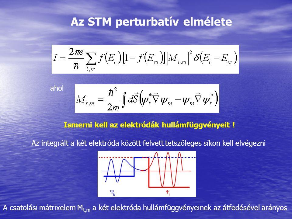 Az STM perturbatív elmélete ahol Az integrált a két elektróda között felvett tetszőleges síkon kell elvégezni Ismerni kell az elektródák hullámfüggvén