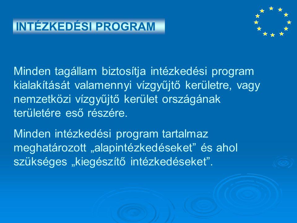 INTÉZKEDÉSI PROGRAM Minden tagállam biztosítja intézkedési program kialakítását valamennyi vízgyűjtő kerületre, vagy nemzetközi vízgyűjtő kerület orsz