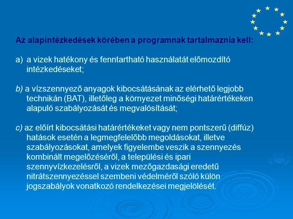 Az alapintézkedések körében a programnak tartalmaznia kell: a)a vizek hatékony és fenntartható használatát előmozdító intézkedéseket; b) a vízszennyez