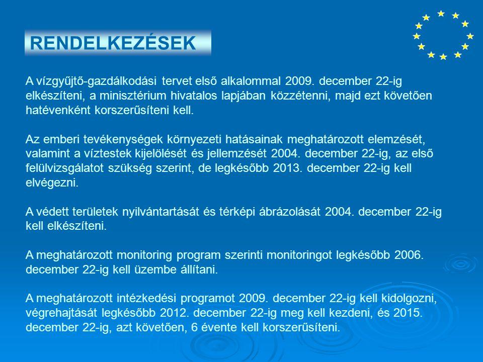 A vízgyűjtő-gazdálkodási tervet első alkalommal 2009. december 22-ig elkészíteni, a minisztérium hivatalos lapjában közzétenni, majd ezt követően haté