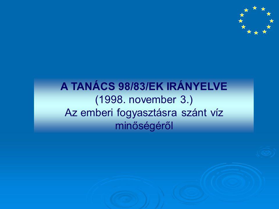 A TANÁCS 98/83/EK IRÁNYELVE (1998. november 3.) Az emberi fogyasztásra szánt víz minőségéről