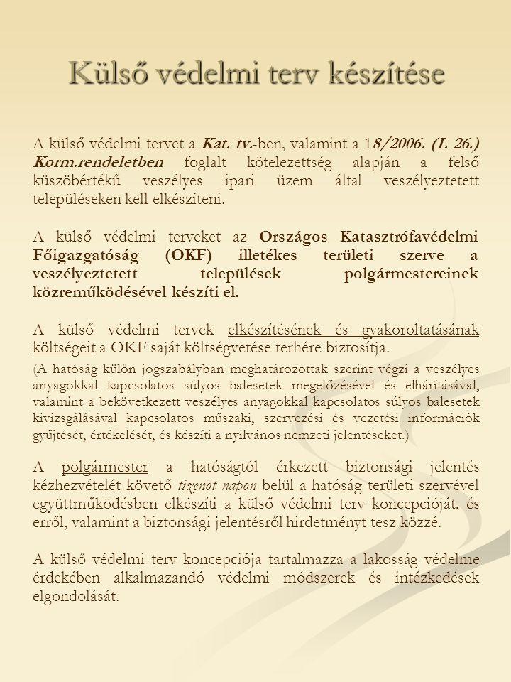 Külső védelmi terv készítése A külső védelmi tervet a Kat. tv.-ben, valamint a 18/2006. (I. 26.) Korm.rendeletben foglalt kötelezettség alapján a fels