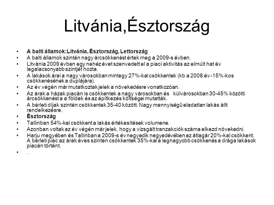 Litvánia,Észtország •A balti államok:Litvánia, Észtország, Lettország •A balti államok szintén nagy árcsökkenést értek meg a 2009-s évben. •Litvánia 2