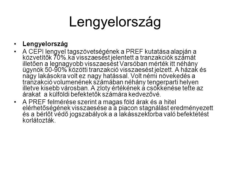 Lengyelország •Lengyelország •A CEPI lengyel tagszövetségének a PREF kutatása alapján a közvetítők 70%.ka visszaesést jelentett a tranzakciók számát i