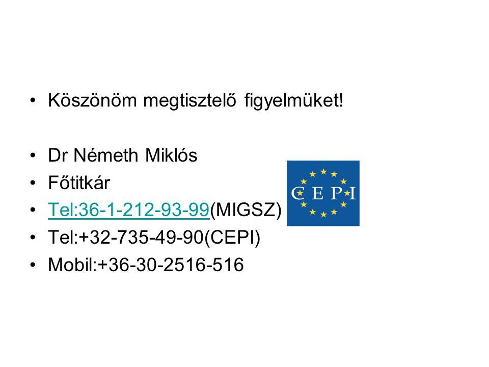 •Köszönöm megtisztelő figyelmüket! •Dr Németh Miklós •Főtitkár •Tel:36-1-212-93-99(MIGSZ)Tel:36-1-212-93-99 •Tel:+32-735-49-90(CEPI) •Mobil:+36-30-251