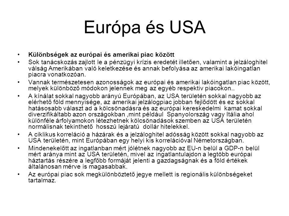 Európa és USA •Különbségek az európai és amerikai piac között •Sok tanácskozás zajlott le a pénzügyi krízis eredetét illetően, valamint a jelzáloghite
