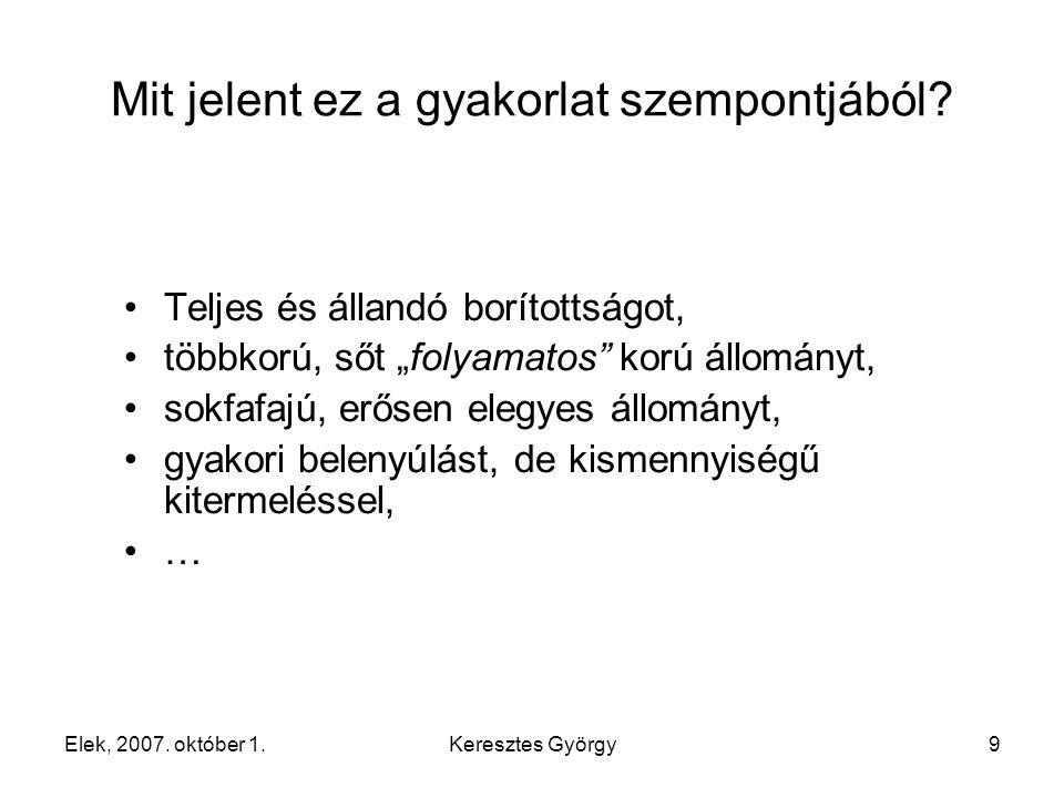 Elek, 2007. október 1.Keresztes György9 Mit jelent ez a gyakorlat szempontjából.