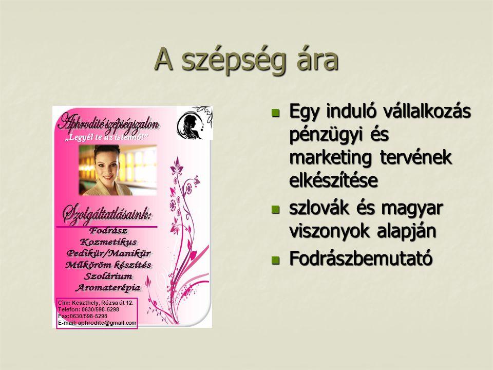 A szépség ára  Egy induló vállalkozás pénzügyi és marketing tervének elkészítése  szlovák és magyar viszonyok alapján  Fodrászbemutató Cím: Keszthe