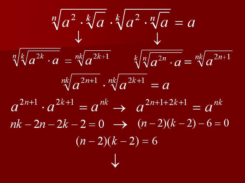 4. feladat Milyen pozitív n és k egészekre teljesül az alábbi egyenlőség ?