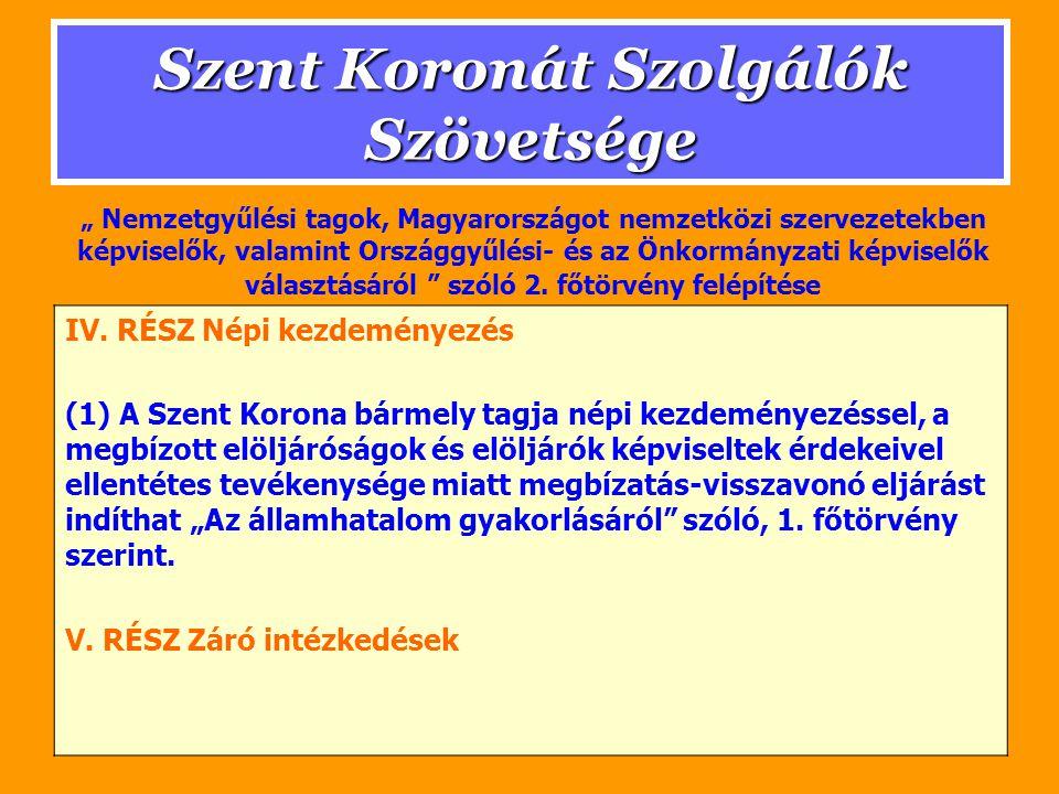 Szent Koronát Szolgálók Szövetsége IV.