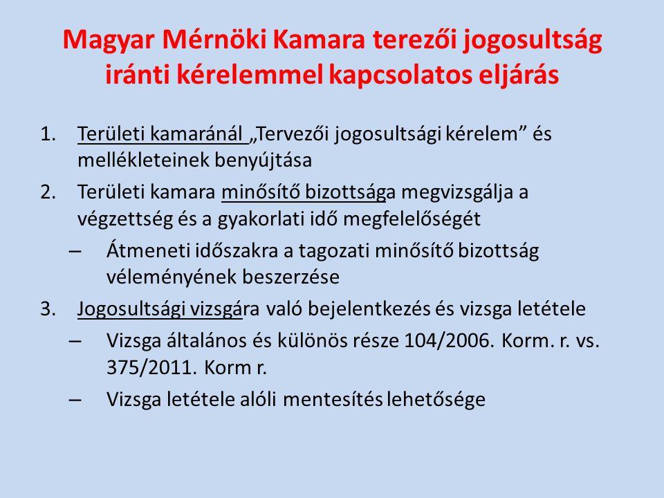 """Magyar Mérnöki Kamara terezői jogosultság iránti kérelemmel kapcsolatos eljárás 1.Területi kamaránál """"Tervezői jogosultsági kérelem"""" és mellékleteinek"""