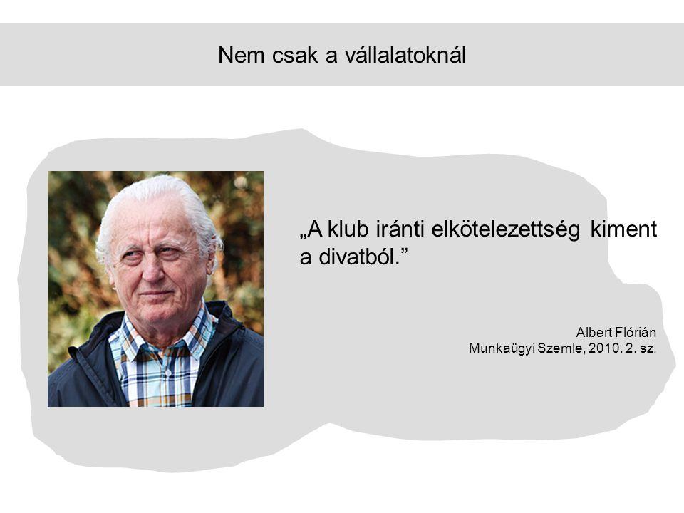 """Nem csak a vállalatoknál """"A klub iránti elkötelezettség kiment a divatból."""" Albert Flórián Munkaügyi Szemle, 2010. 2. sz."""